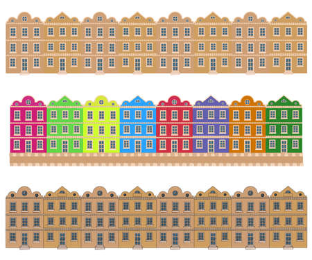 Various houses on a white background. City street. Cartoon. Vector illustration.