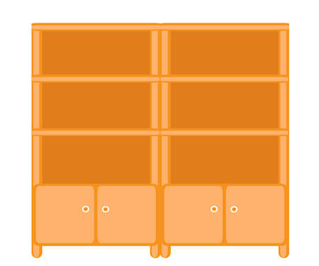 Wardrobe with shelves on a white background. Cartoon. Vector illustration.