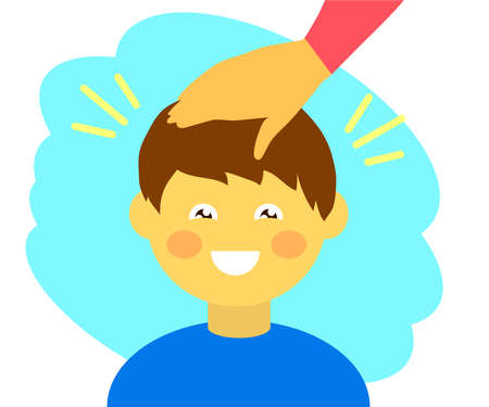 Boy and adult support. Pat your child on the head. Cartoon. Vector illustration. Vecteurs