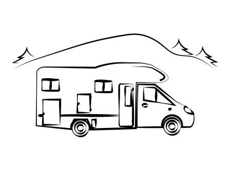 Mobile home on the background of nature. House on wheels. Sketch. Vector illustration.