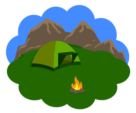 Tourist tent with mountains in the background. Rest at nature. Vector illustration.