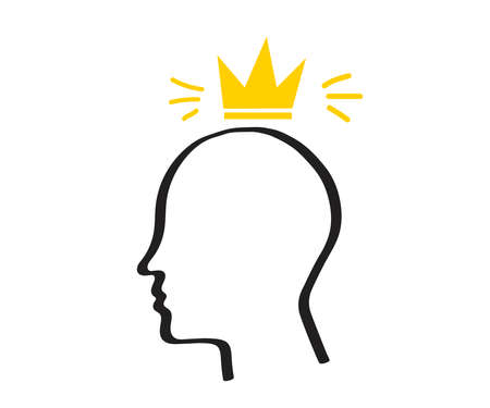 Silhouette of the head and crown on a white background. Pride. Sketch. Vector illustration.