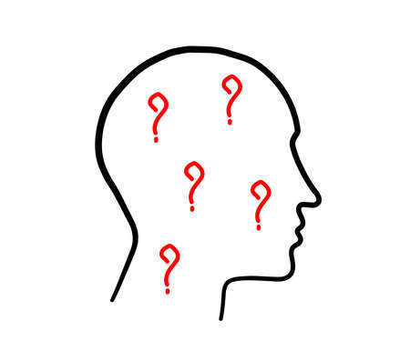 Silhouette of a head and a question mark on a white background. Sketch. Vector illustration. 向量圖像