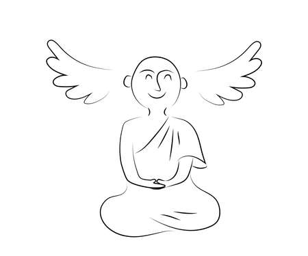 Buddhist monk meditates on a white background. Silhouette. Man and religion. Vector illustration.