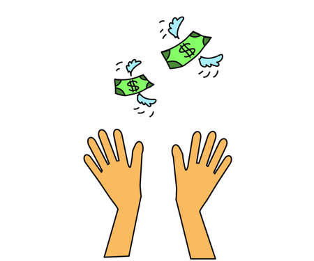 Hands up and flying away money on a white background. Symbol. Vector illustration.