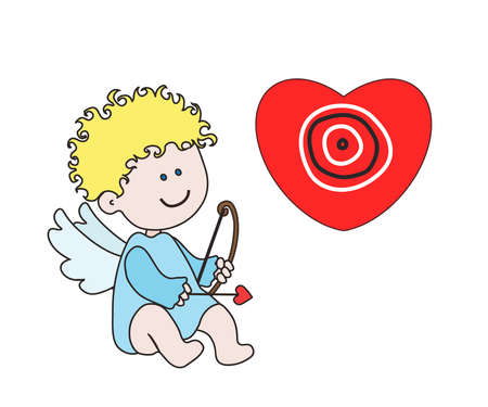 Little angel with bow and arrow. Cartoon. Vector illustration.