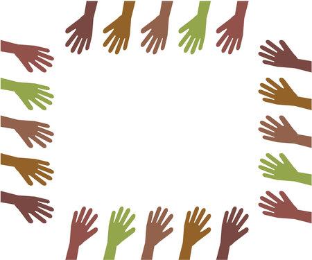 Hands of different people on a white background. Vector illustration. Ilustração