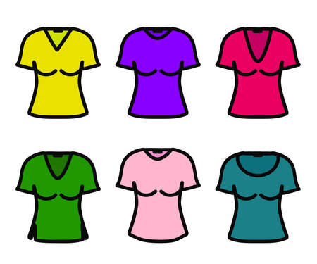 Women's T-shirt on a white background. Collection. Vector illustration. 向量圖像