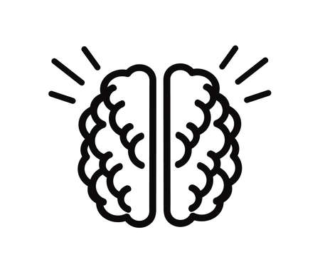 Human brain on a white background. Symbol. Vector illustration.