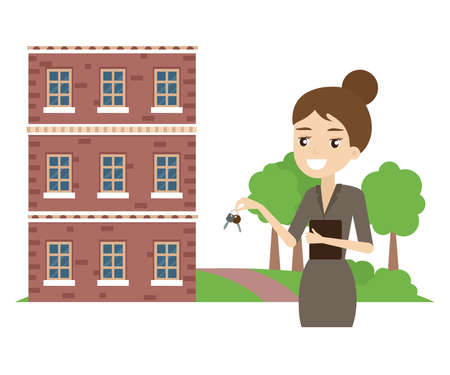 The realtor holds the keys to the apartment. Cartoon. Vector illustration. 矢量图像