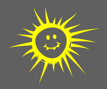 Evil sun on a gray background. Symbol. Vector illustration.