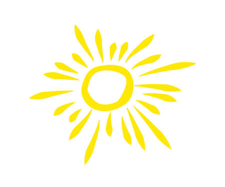 Sun on a white background. Symbol. Vector illustration. 矢量图像