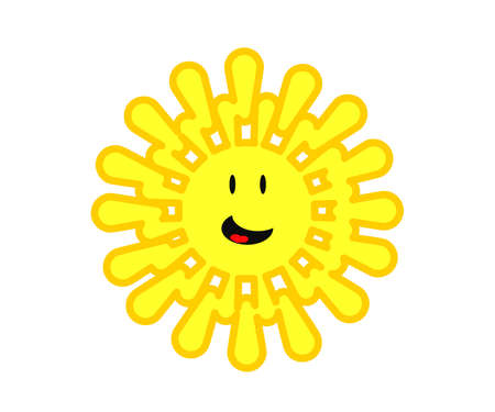 Cheerful sun on a white background. Symbol. Vector illustration.