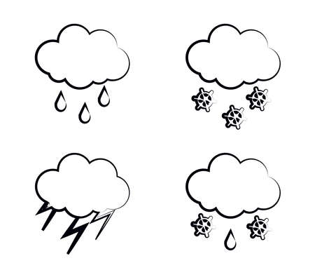 Silhouette of clouds and precipitation on a white background. Collection. Vector illustration.