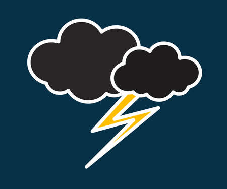 Thundercloud and lightning on a gray background. Storm. Symbol. Vector illustration.