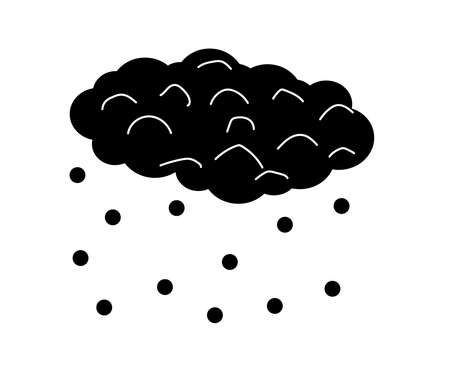Cloud and precipitation in the form of snow on a white background. Symbol. Vector illustration.
