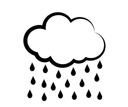 Cloud and rain on a white background. Symbol. Vector illustration.