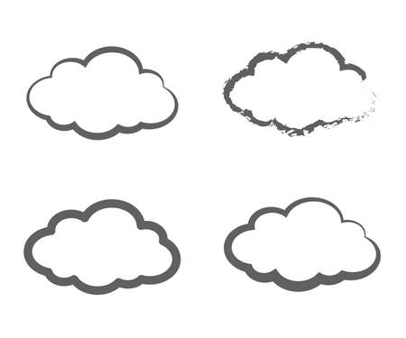 Silhouette of clouds on a white background. Collection. Vector illustration.