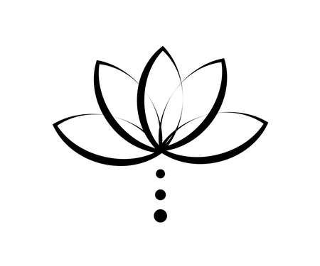 Blooming lotus on a white background. Silhouette. Vector illustration.