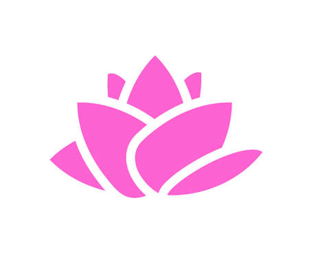 Blooming lotus on a white background. Symbol. Vector illustration.