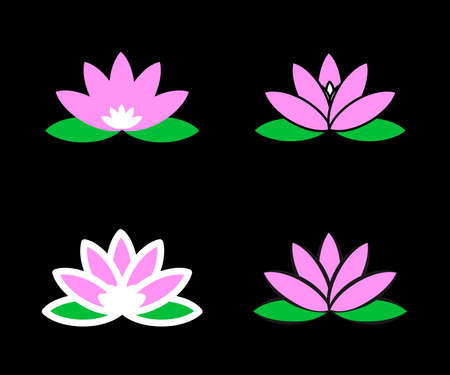 Lotus on a black background. Collection. Vector illustration. 矢量图像