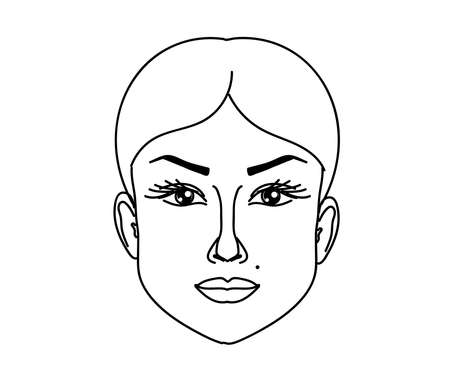Face of a beautiful woman on a white background. Sketch. Vector illustration. 矢量图像