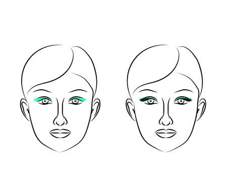 Woman's face on a white background. Sketch. Vector illustration. 矢量图像