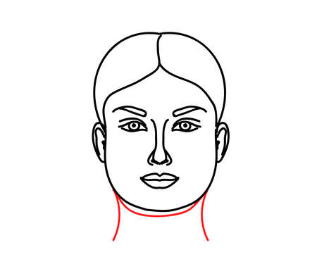 Woman's face on a white background. Double chin. Vector illustration. 矢量图像
