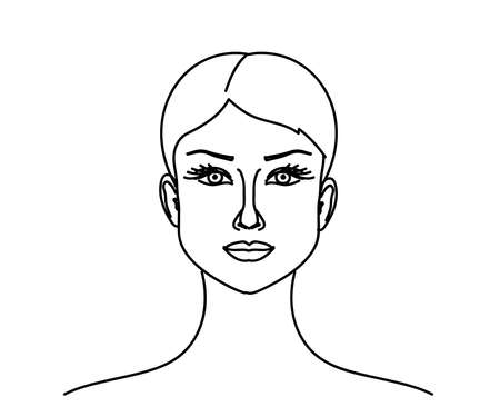 The face of a young girl on a white background. Sketch. Vector illustration. 矢量图像