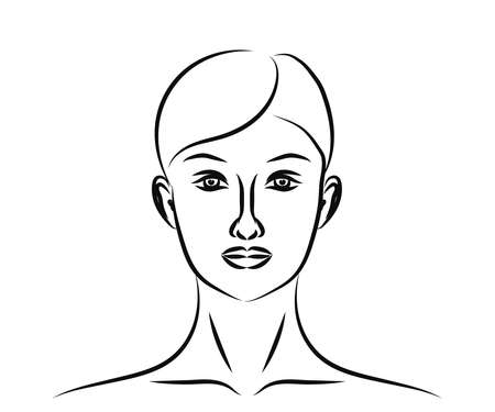 The face of a beautiful girl on a white background. Sketch. Vector illustration. 矢量图像