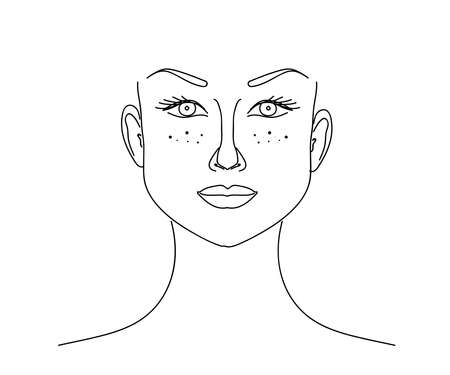 Face with freckles of a beautiful girl. Sketch. Vector illustration.