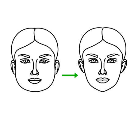 The face of a beautiful girl before and after losing weight. Sketch. Vector illustration. 矢量图像
