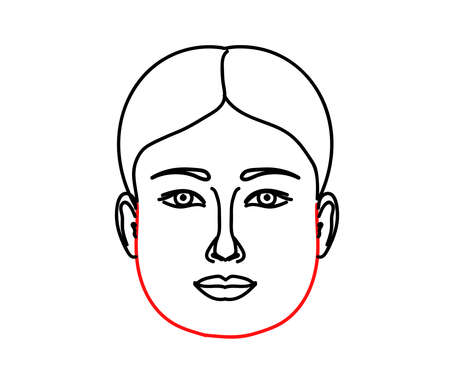 Woman's face on a white background. Thick face. Vector illustration.