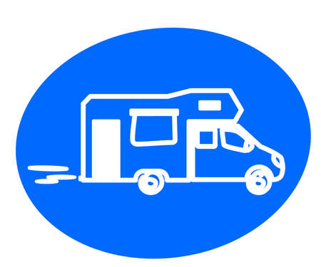 Mobile home on a blue background. Silhouette. Vector illustration.