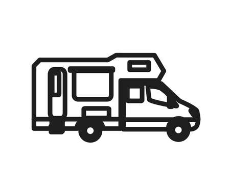 House on wheels on a white background. Symbol. Vector illustration. 矢量图像