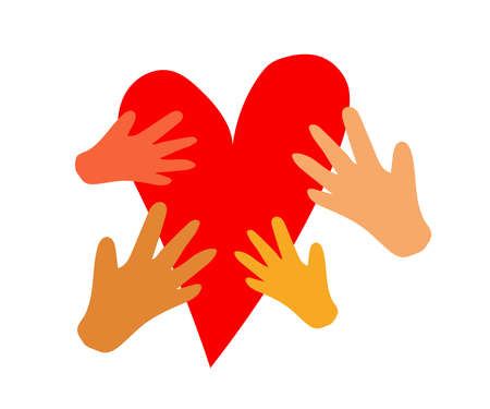 A crowd of different hands and a big heart. Cartoon. Vector illustration.