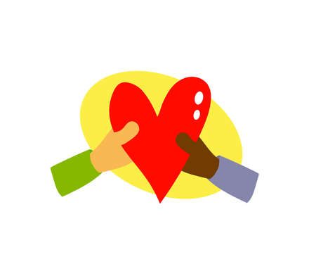 Red heart in the hands of different people on a white background. Cartoon. Vector illustration. 矢量图像