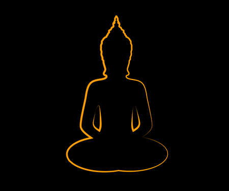 Silhouette of Buddha on a black background. Vector illustration. 矢量图像