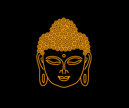 Face of Buddha on a black background. Symbol. Vector illustration.