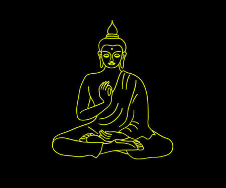 Silhouette of Buddha on a black background. Symbol. Vector illustration.