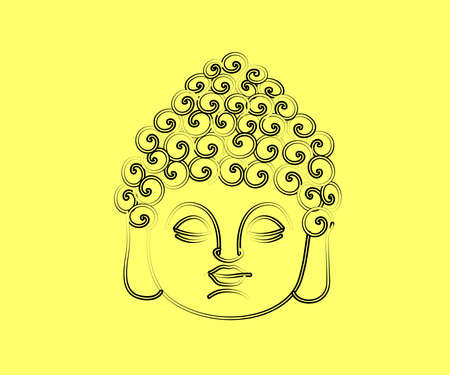 Face of Buddha on a beige background. Symbol. Vector illustration.
