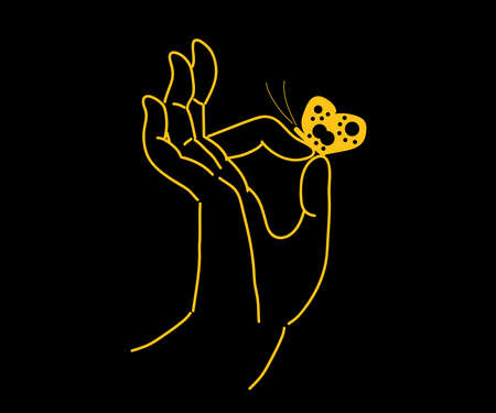 Buddha hand and butterfly on a black background. Sketch. Vector illustration.