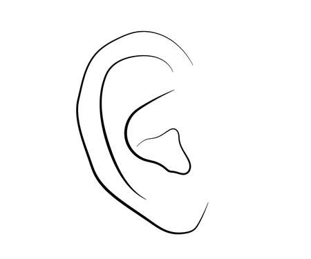 Human ear on a white background. Silhouette. Vector illustration.