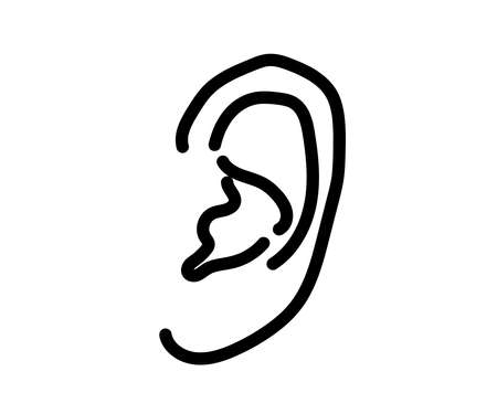 Human ear on a white background. Symbol. Vector illustration. 矢量图像