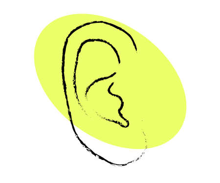 Human ear on a beige background. Silhouette. Vector illustration. 矢量图像