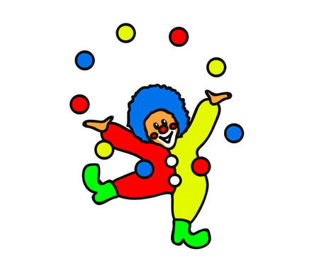 Cheerful clown plays with colorful balls on a white background. Cartoon. Vector illustration.