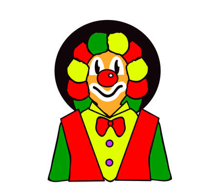 Cheerful bright clown on a white background. Cartoon. Vector illustration.