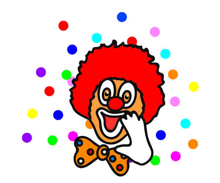 Cheerful bright clown on a white background. Cartoon. Vector illustration. Vecteurs