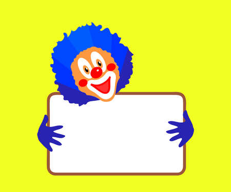 Cheerful clown holds a frame on a white background. Cartoon. Vector illustration.