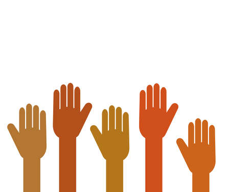 Hands of various people are raised up on a white background. Symbol. Vector illustration.